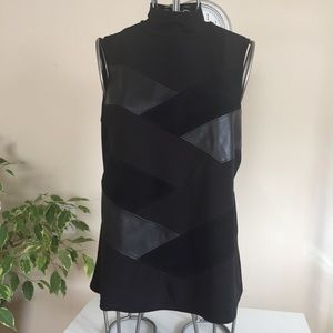 Calvin Klein black faux leather patchwork top